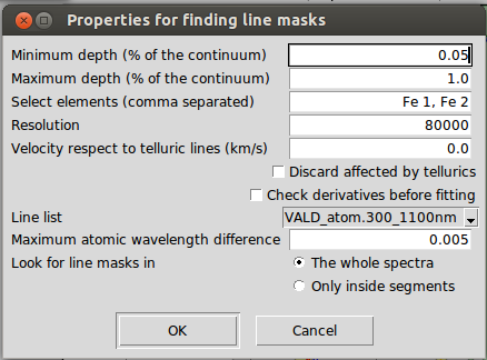 Properties for the automatic mechanism of finding line masks