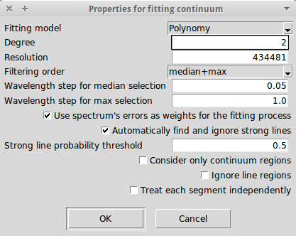 Properties for the fitting of the continuum